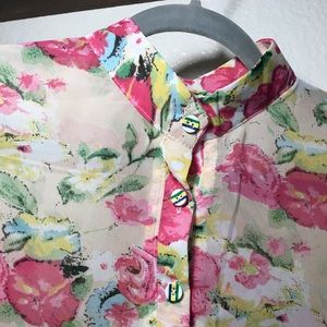 Tops - Floral Blouse with Button Detail